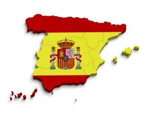 3d Spain flag map on white